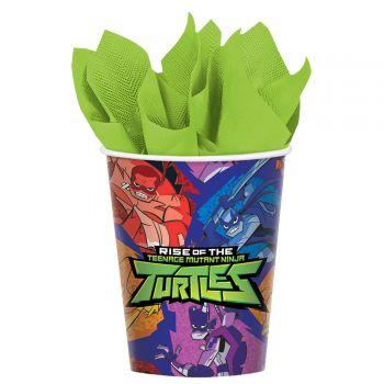 8 Gobelets en carton Tortue Ninja mutant