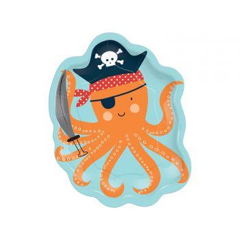 8 Assiettes dessert pieuvre Pirate Ahoy