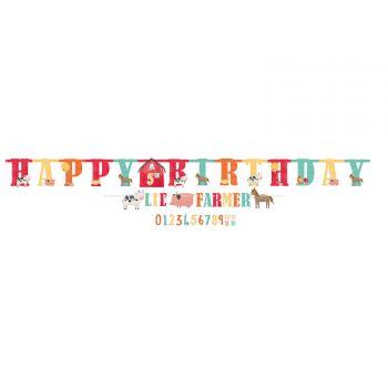 2 Banderoles happy birthday Ferme festive