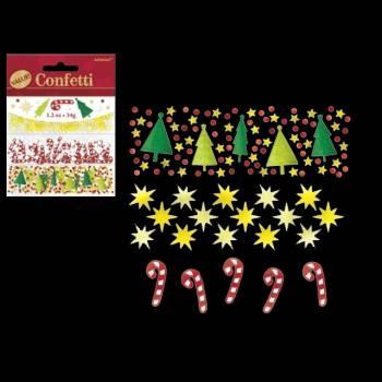 Trio confettis metallic Candy cane/Sapins/étoiles