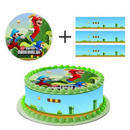 Kit décor en sucre Easycake Mario pour réaliser un gâteau rond en 1 clin d'oeil ! Prévu pour un gâteau d'un diamètre de 20 cm soit 8...