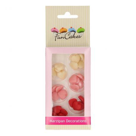 Assortiment de 30 mini coeurs en pâte d'amande rouge, rose et blanche pour décorer vos gâteaux Dimensions: Ø1cm