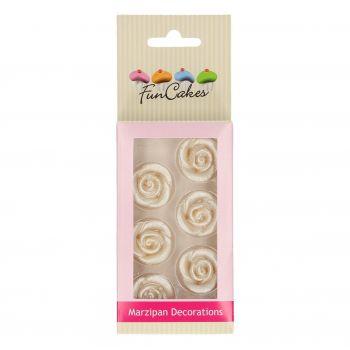 6 Roses argentées pâte d'amande Funcakes