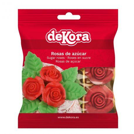 Sachets de 6 roses rouges en sucre idéal pour la décoration de vos gâteaux Poids net: 34gr Poids brut: 58grdiamètre d'une rose : +/-...