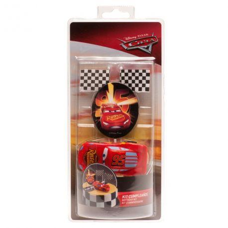 Kit deco de gâteau Cars en plastique pour agrémenter votre beau gâteau d'anniversaire Dimensions : flash Mc Queen 8cm