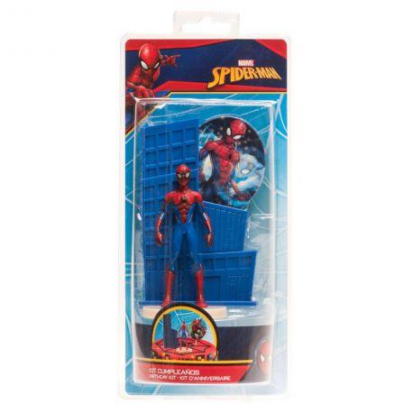 Kit deco de gâteau Spiderman en plastique pour agrémenter votre beau gâteau d'anniversaire Dimensions :Spiderman 9cm