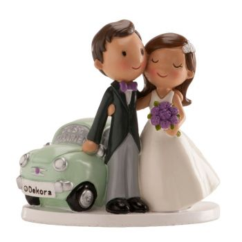 Figurine mariés voiture just married