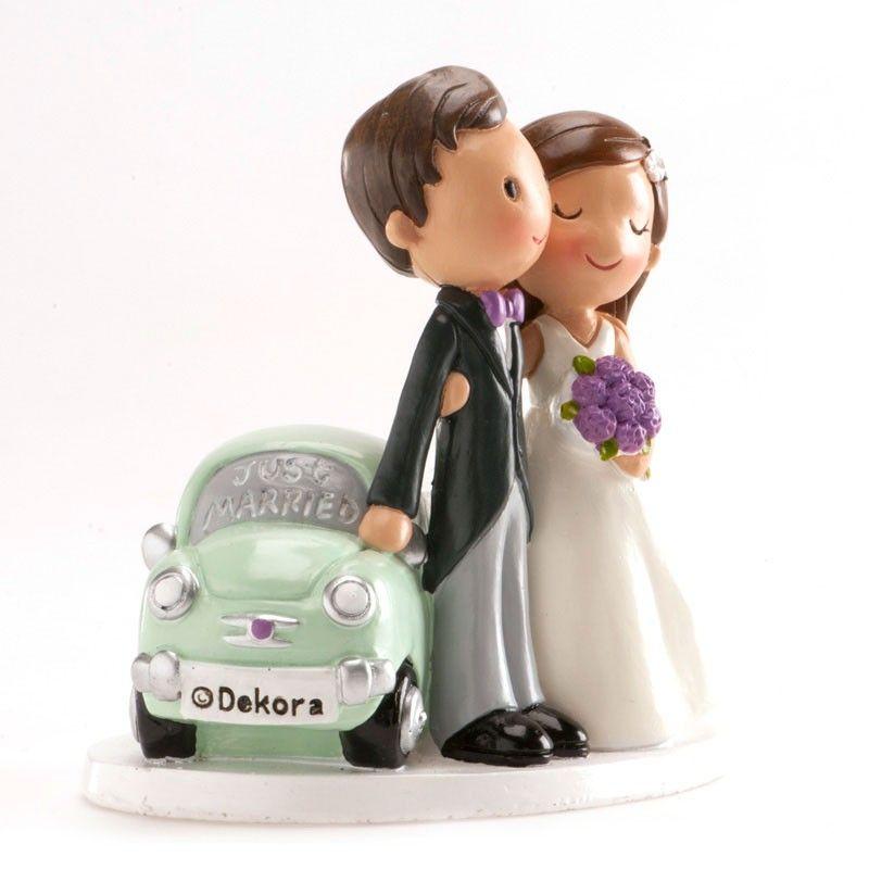 Figurine mariés voiture just married