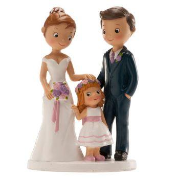 Figurine mariés avec petite fille