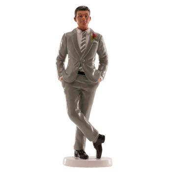 Figurine marié costume gris
