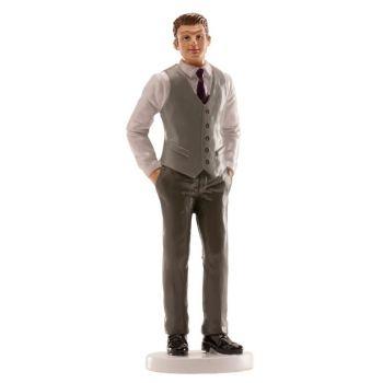 Figurine marié gilet gris