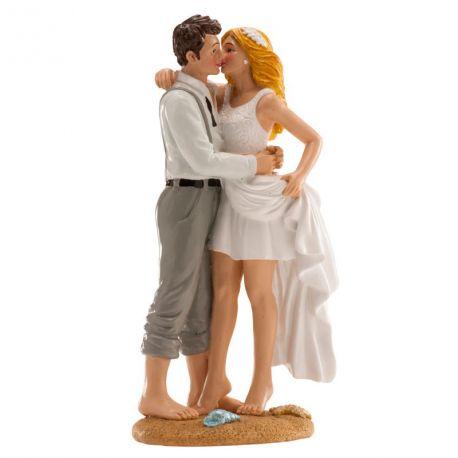 Jolie figurine figurine en résine Mariés à la plage pour la décoration de vos gâteaux de mariage, wedding cakes et pièce...
