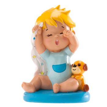 Figurine baptême garçon baîllement