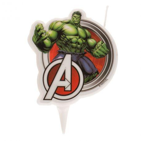 Bougie 2D Hulk pour la décoration du gâteau d'anniversaire de votre enfant Dimensions: 9 cm
