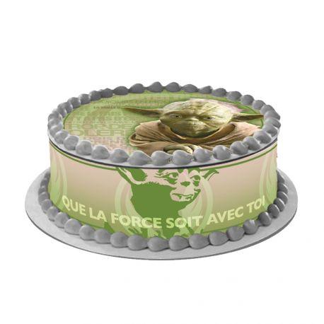 Kit décor en sucre Easycake pour réaliser la déco Star Wars Yoda d'un gâteau rond en 1 clin d'oeil ! Prévu pour un gâteau d'un diamètre...