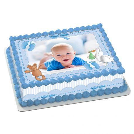 Kit décor en sucre pour réaliser un gâteau rectangle en 1 clin d'oeil ! Prévu pour un gâteau rectangle de 20 x 30 cm soit 18 parts...