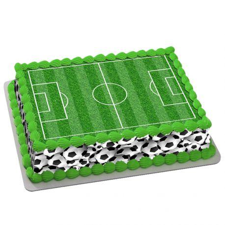 Kit décor en sucre décor football pour réaliser un gâteau rectangle en 1 clin d'oeil ! Prévu pour un gâteau rectangle de 20 x 30 cm soit...
