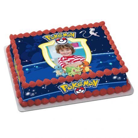 Kit décor en sucre Easycake Pokemon pour réaliser un gâteau rectangle en 1 clin d'oeil ! Prévu pour un gâteau rectangle de 20 x 30 cm...