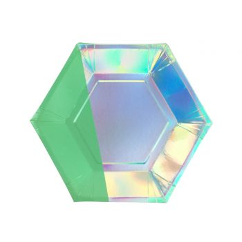 8 Assiettes dessert hexagonale Shimmer party