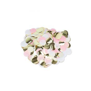 Confettis papier rose blanc et or