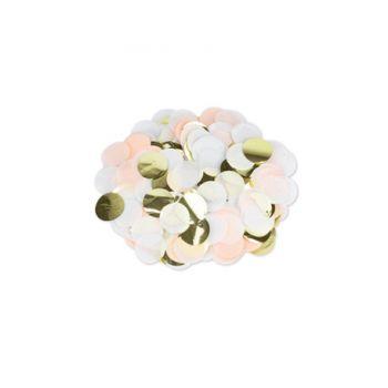 Confettis papier pêche blanc et or