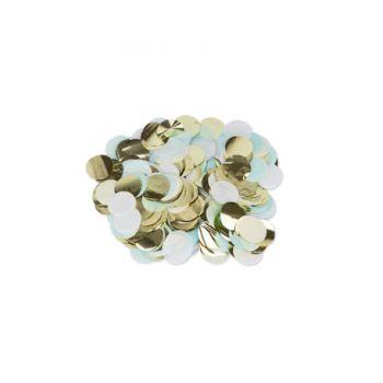 Confettis papier bleu blanc et or