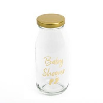 Mini bouteille en verre Baby Shower or