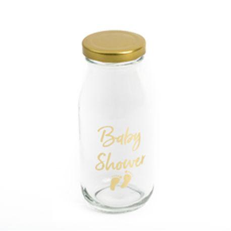 Mini bouteille en verre individuelle serigraphié Baby Shower or avec petits pieds, livré avec bouchon or Dimensions: 6 x 14...