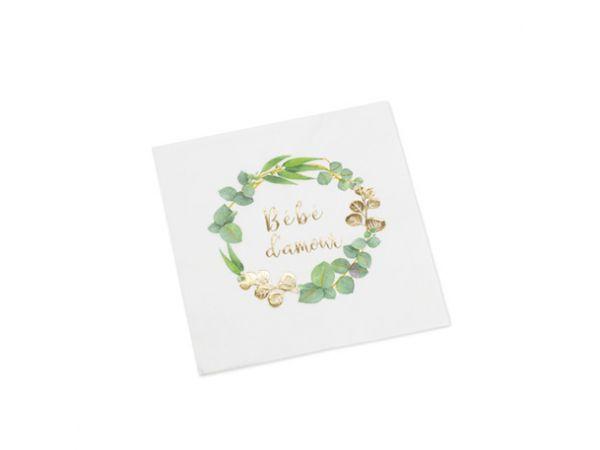 Serviettes en papier Bébé d'amour or eucalyptus - Thema Deco.fr