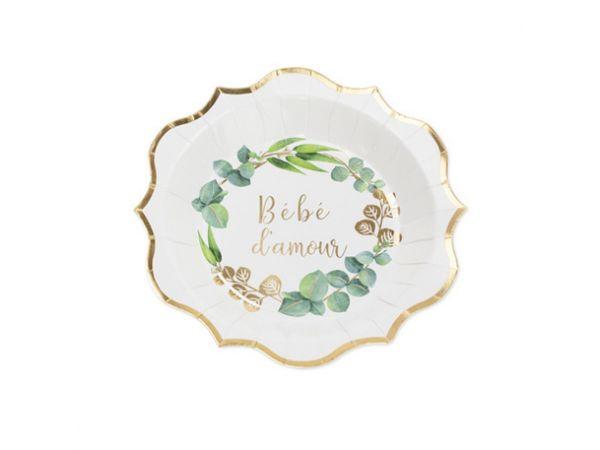 Assiettes Bébé d'amour or eucalyptus - Thema Deco.fr