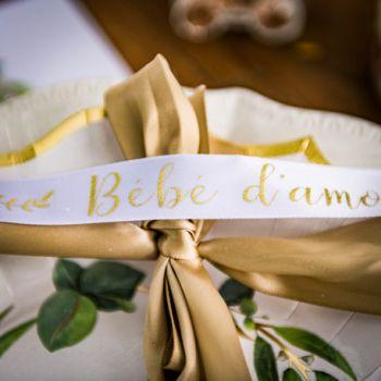 Ruban satin floqué Bébé d'amour or