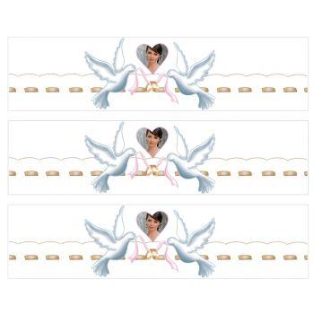Bandes de sucres personnalisées décor colombes