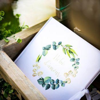 Livre d'or Bébé d'amour or eucalyptus