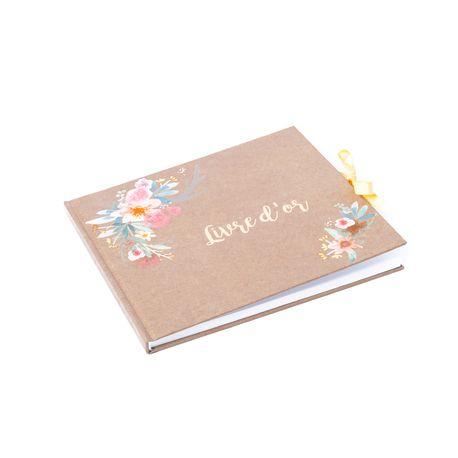 Livre d'or floqué à l'or avec décor fleurs aquarelle pour récolter les petits mots de vos invités Dimensions: 22cm x 19cm68 pages