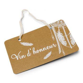 Pancarte Vin d'honneur Boho