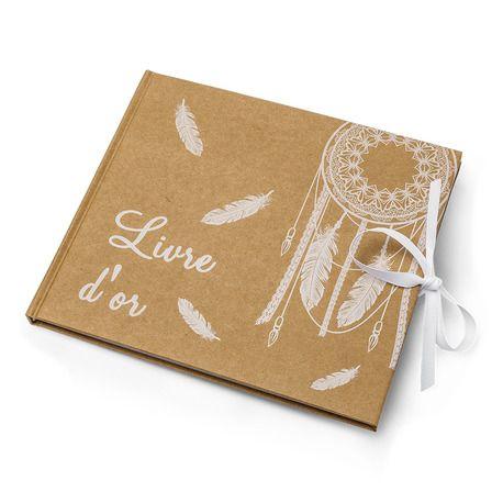 Livre d'or avec décor boho chic avec plumes et attrape rêves pour récolter les petits mots de vos invités Dimensions: 22cm x 19cm- 68 pages