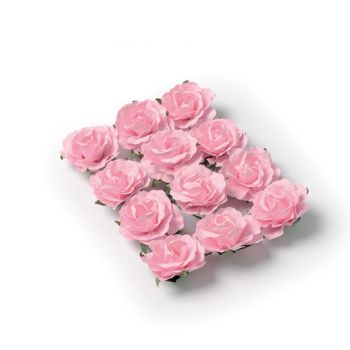 12 Roses rose sur tige 3.5cm