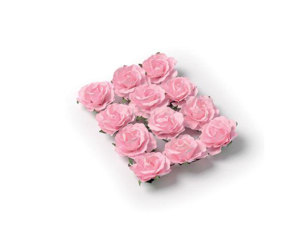 12 Roses rose sur tige 3.5cm - Thema Deco.fr