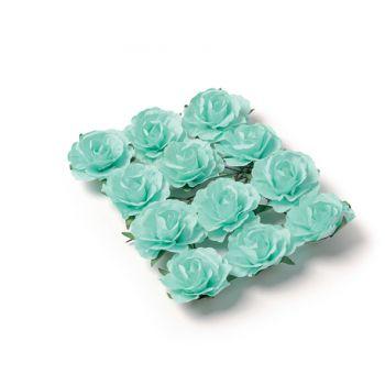 12 Roses menthe sur tige 3.5cm