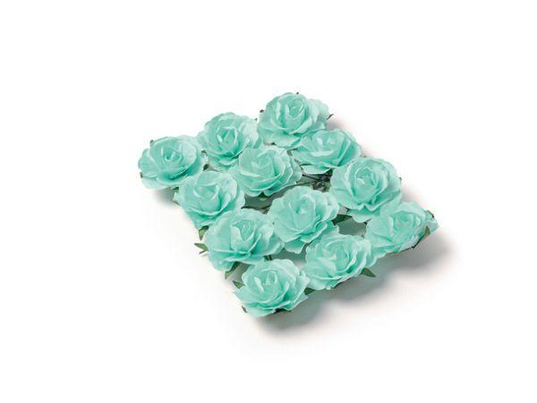 12 Roses menthe sur tige 3.5cm - Thema Deco.fr