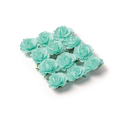 Ces superbes petites roses en papier de couleur menthe sont idéales à travailler. Grâce à leurs tiges laitonnées vous les enroulerez...