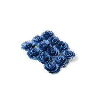 12 Roses bleu marine sur tige 3.5cm