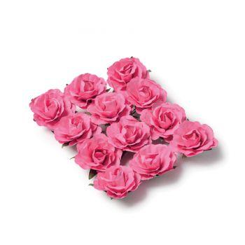 12 Roses fuschia sur tige 3.5cm