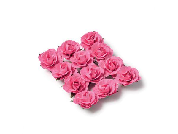 12 Roses fuschia sur tige 3.5cm - Thema Deco.fr