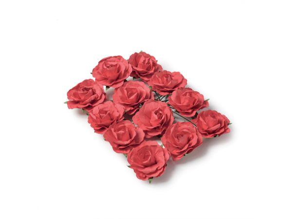 12 Roses rouge sur tige 3.5cm - Thema Deco.fr