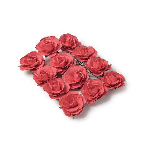 Ces superbes petites roses en papier de couleur rouge sont idéales à travailler. Grâce à leurs tiges laitonnées vous les enroulerez...