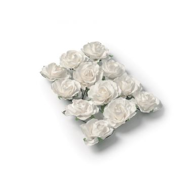 12 Roses blanches sur tige 3.5cm