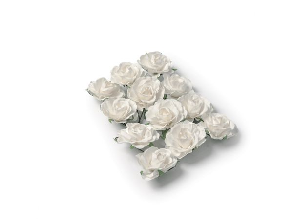 12 Roses blanches sur tige 3.5cm - Thema Deco.fr