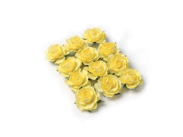 12 Roses jaune sur tige 3.5cm - Thema Deco.fr