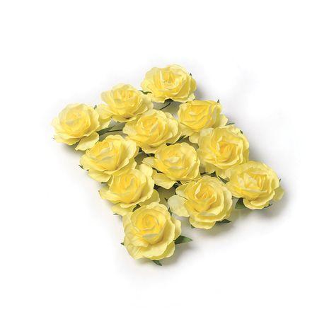 Ces superbes petites roses en papier de couleur jaune sont idéales à travailler. Grâce à leurs tiges laitonnées vous les enroulerez...